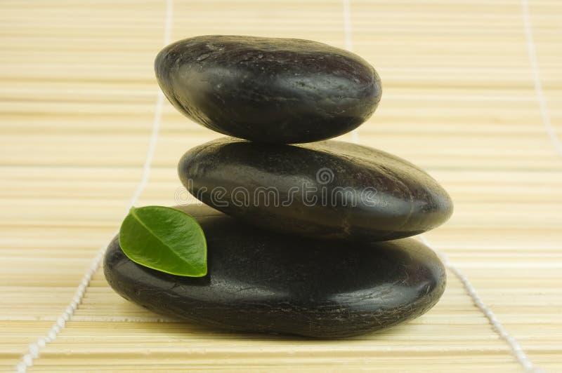 bamboo черное зеленое Дзэн камушков листьев стоковое изображение