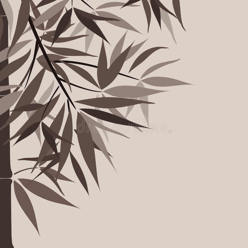 Bamboo background and sun, vector royalty free illustration