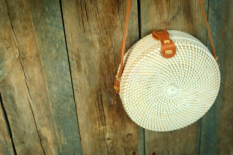 Bamboo bag on a wooden background, copy space. royalty free stock image