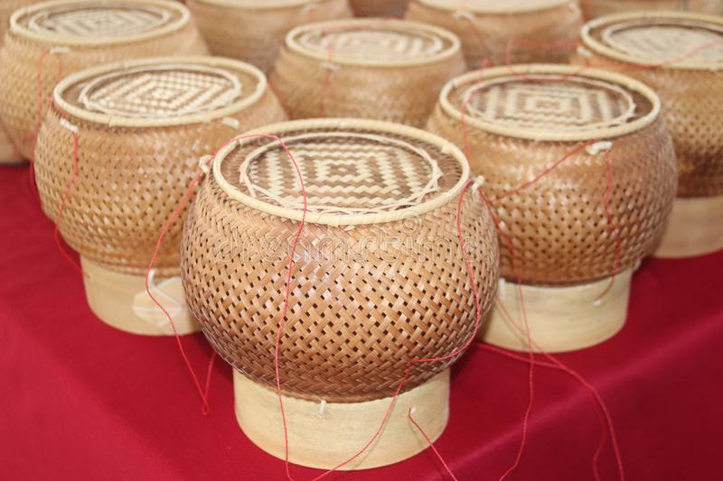 bamboo basket, Wicker products, handicraft, sticky rice basket, bamboo, royalty free stock images