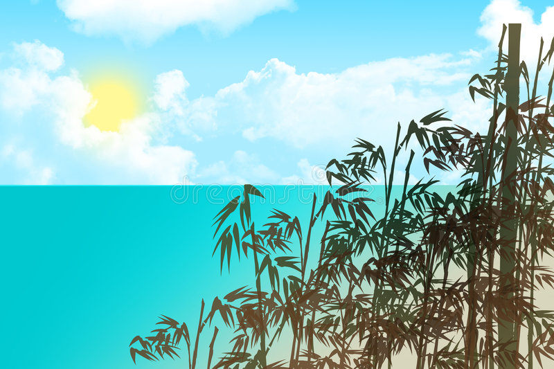 Download Bamboo beach stock illustration. Image of ocean, backdrop - 5929995