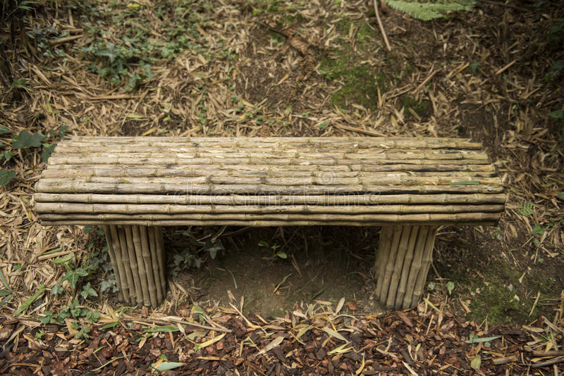 Bamboo Bench. Resting in a bamboo garden forest stock images