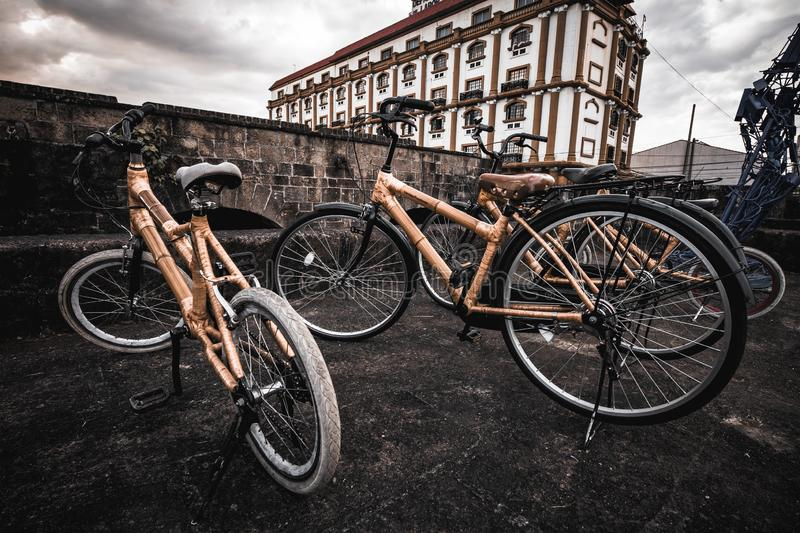Bamboo bikes on the street in Manila stock images