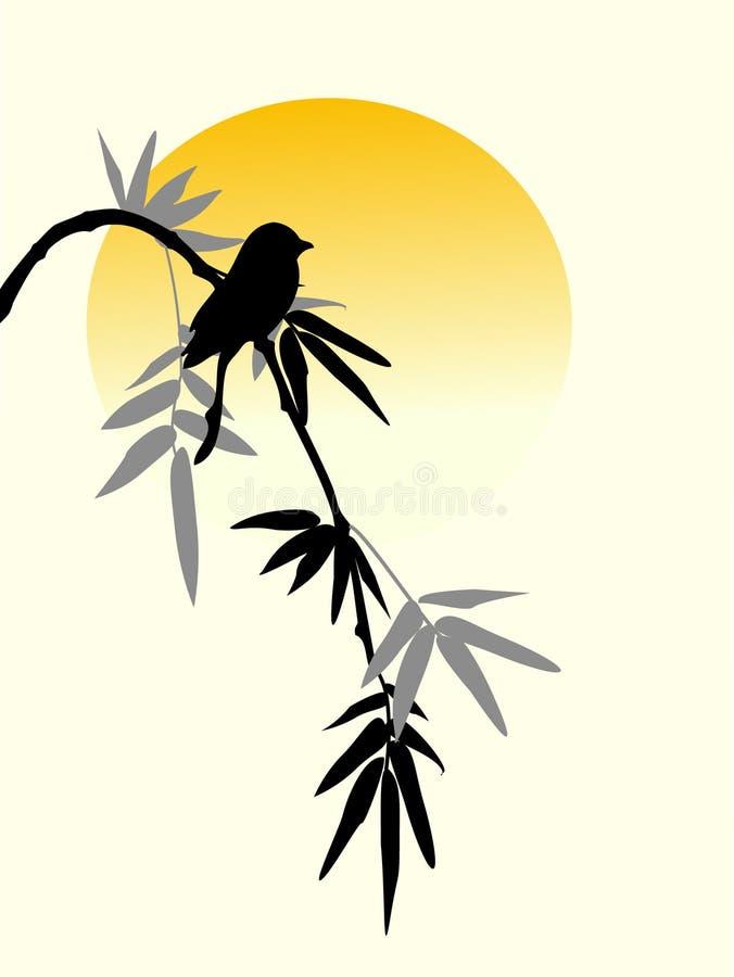 Free Bamboo Bird And Sun Royalty Free Stock Photos - 17939078