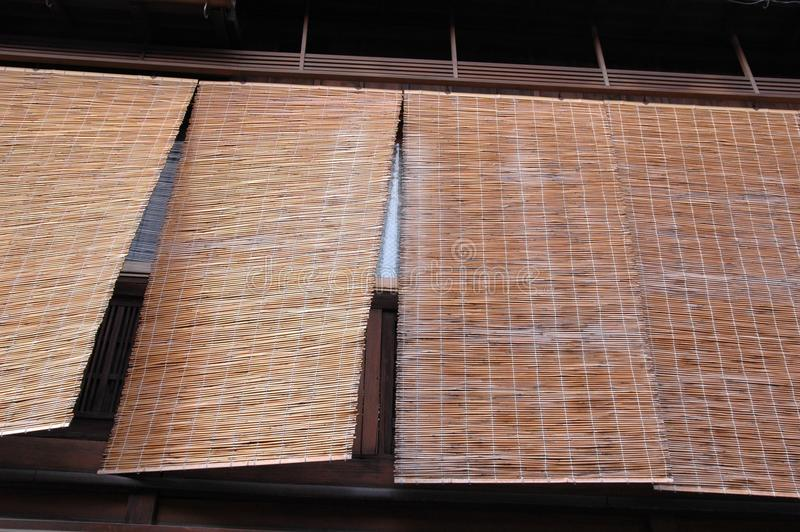 Bamboo blind. S detail- a very specific architectural detail for Gion-geisha ward in Kyoto,Japan stock images