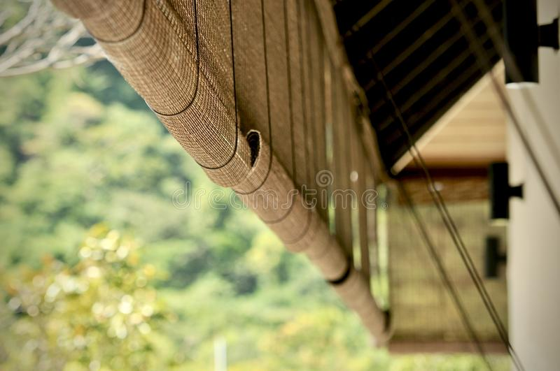 Bamboo blinds asian traditional home decoration. Sunlight coming through bamboo blinds by the window. Bamboo curtain at a window. Overlooking garden royalty free stock photo
