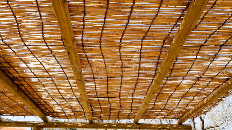 Bamboo Blinds ceiling. Resting on wood structure stock images