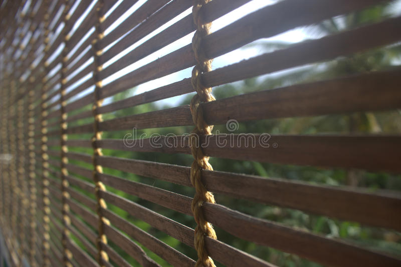 Bamboo blinds. Made in kerala, India. Used to protect from hot sun rays stock image