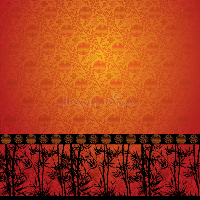 Bamboo border on Chinese wallpaper royalty free illustration