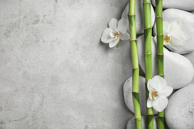Bamboo branches with flowers and stones on gray background, top view stock photo
