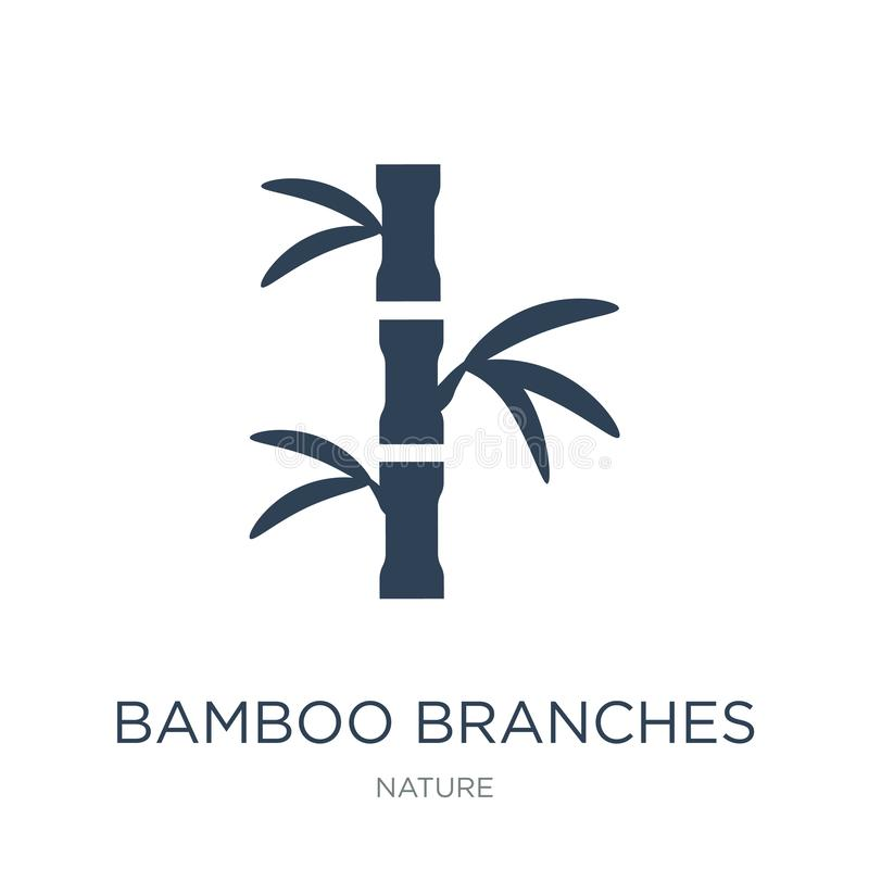 Bamboo branches icon in trendy design style. bamboo branches icon isolated on white background. bamboo branches vector icon simple. And modern flat symbol for royalty free illustration