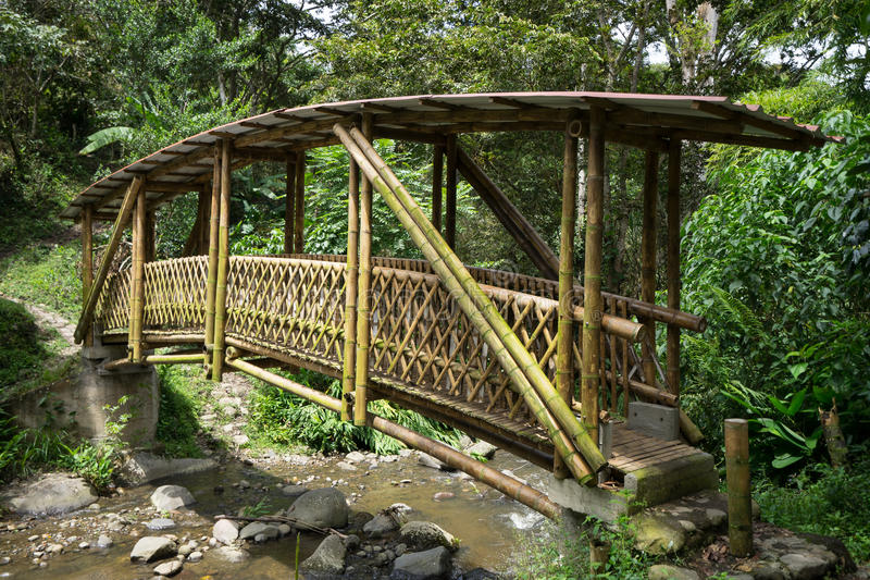 Bamboo bridge. Across small river in Tierradentro Colombia stock images