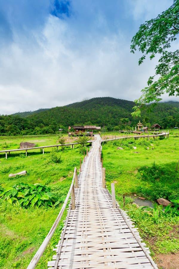 Bamboo bridge Boon Ko Ku So at Pai; Thailand stock image