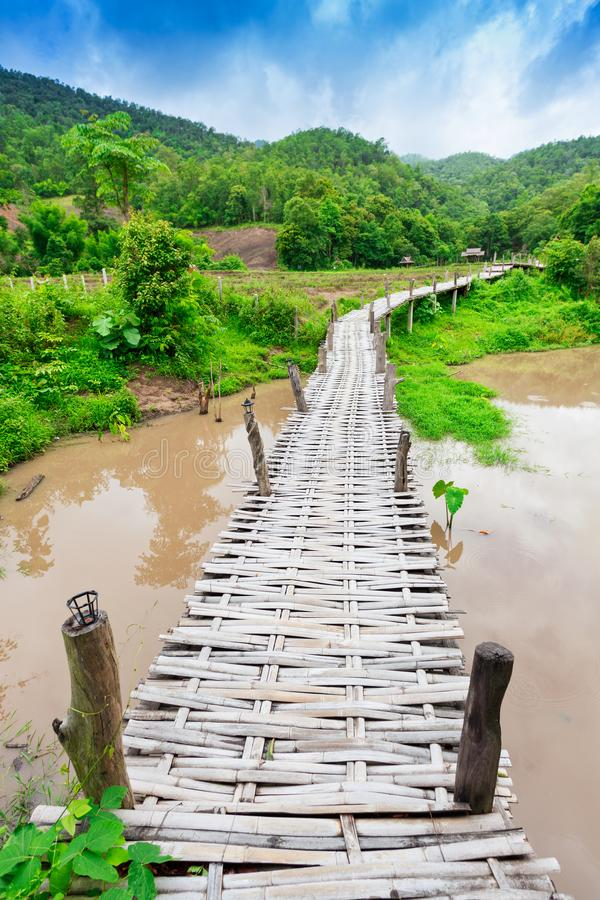 Bamboo bridge Boon Ko Ku So at Pai; Thailand royalty free stock image