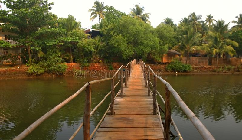 A bamboo bridge in India stock images