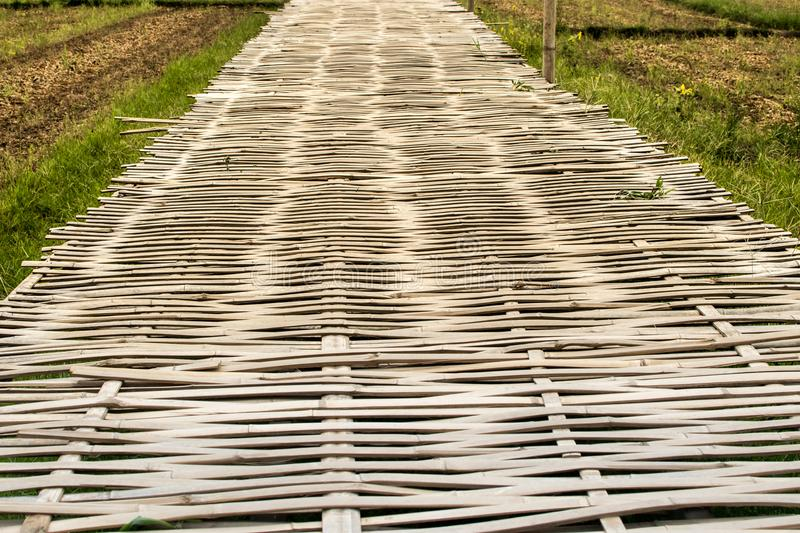 Bamboo bridge is made of bamboo. Landscapes royalty free stock photos
