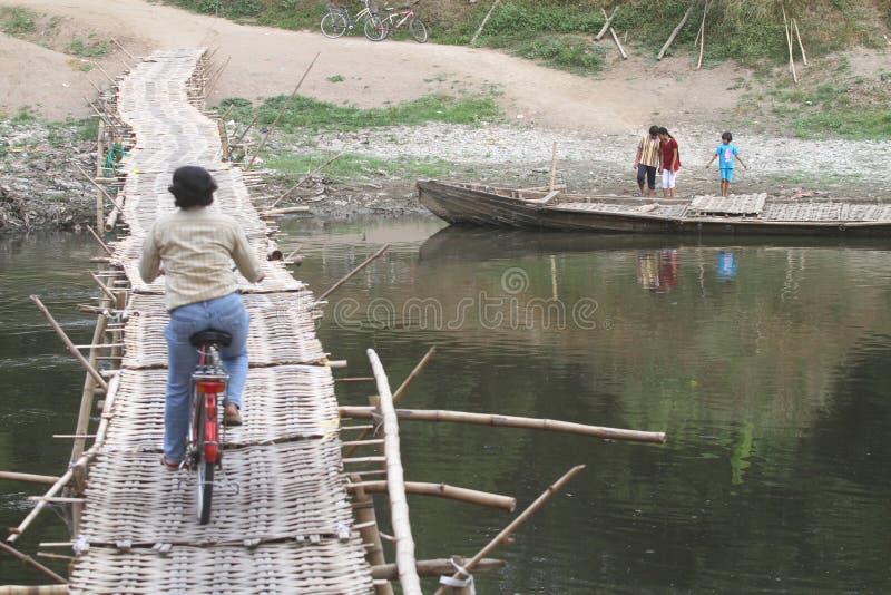 Download Bamboo bridge editorial stock image. Image of motorcycle - 31881869