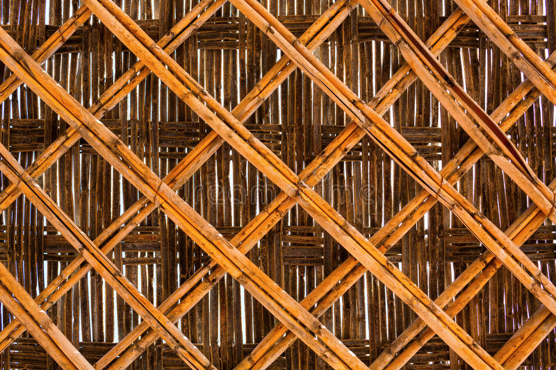 Bamboo brown straw mat as abstract texture. Background composition, top view above stock photography