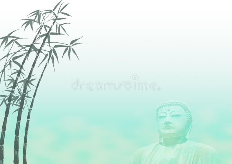 Bamboo Buddha Landscape Template vector illustration