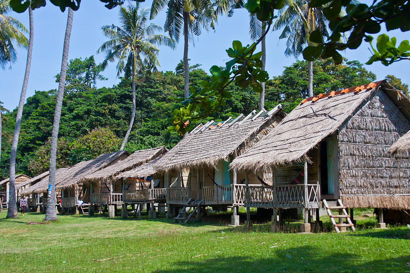 Bamboo bungalows in Rabbit island Cambodia stock images