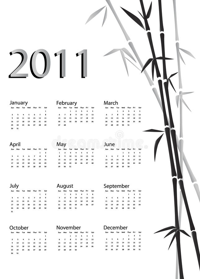 Free Bamboo Calendar Black And White Stock Photos - 15487853