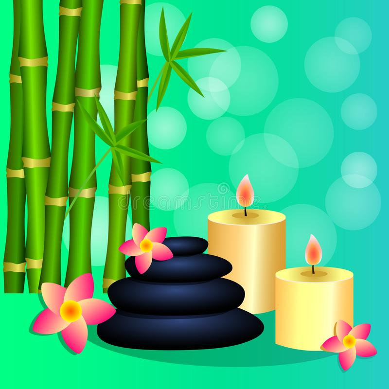 Bamboo candles Spa stones for banner leaflet brochure, poste stock photo