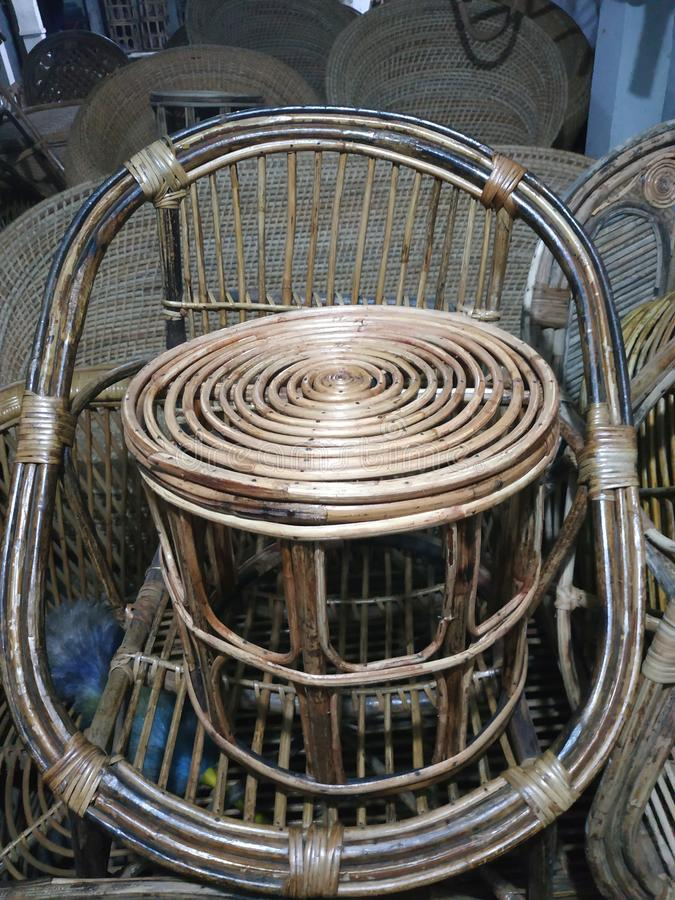 Bamboo chair local artistic. Lacal handy craft made nepali people locally available bamboo lonf lasting comfortable can used any where office house royalty free stock photos
