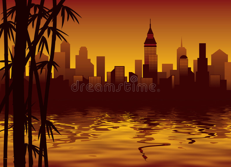 Bamboo and city vector illustration