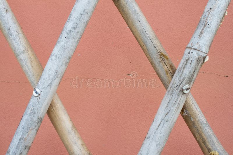 Bamboo fence texture on pink background image stock image