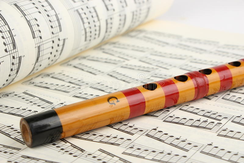 Bamboo flute and Music Sheet royalty free stock photo