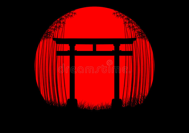Bamboo forest background in the japanese sunrise with black silhouette and japanese gate royalty free illustration