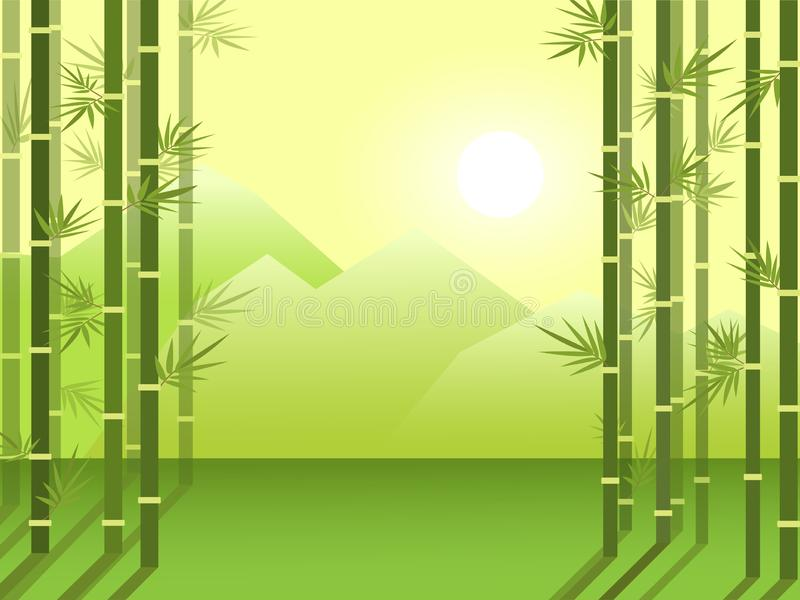 Bamboo forest grove on the background of mountains and rising sun. Cartoon flat illustration. Bamboo forest grove on the background of mountains and rising sun stock illustration