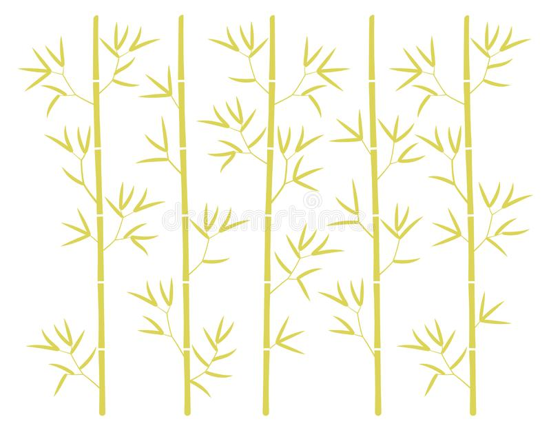 Bamboo forest yellow silhouette background. Bamboos or bambusa plant backdrop. Bambos leaves and stalk. Decorative flat vector royalty free illustration