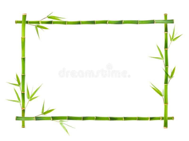 Bamboo frame isolated on white background stock images