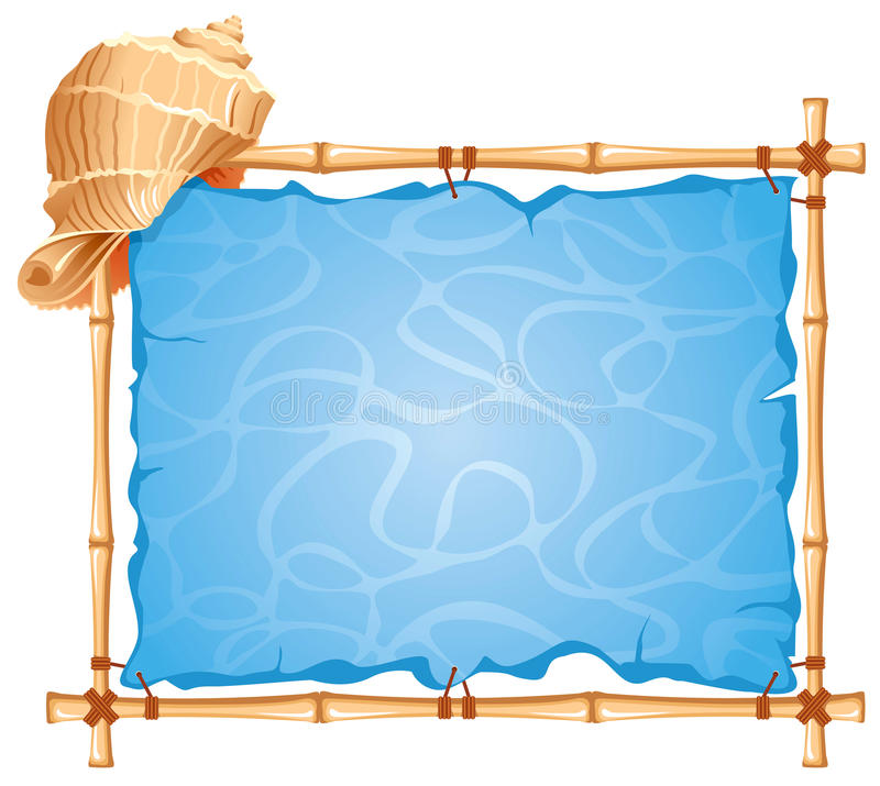 Bamboo Frame. With seashell. Detailed picture vector illustration