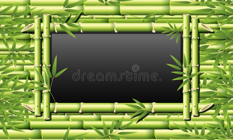 Bamboo frame for blackboard royalty free illustration