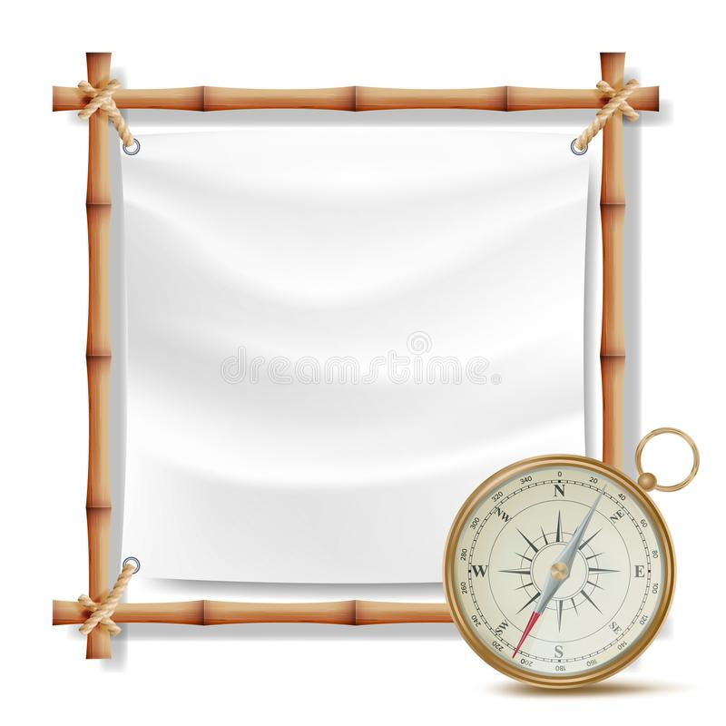 Bamboo Frame And Metal Compass Vector. Summer Travel Concept. Isolated Illustration vector illustration