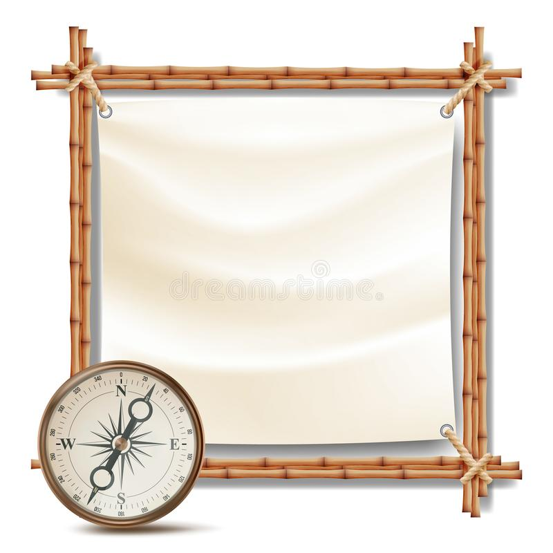 Bamboo Frame With Compass Vector. Tropical Summer Adventure Concept. Isolated Illustration stock illustration