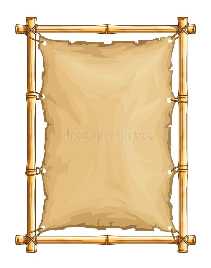 Bamboo frame with old torn textile cloth stock illustration
