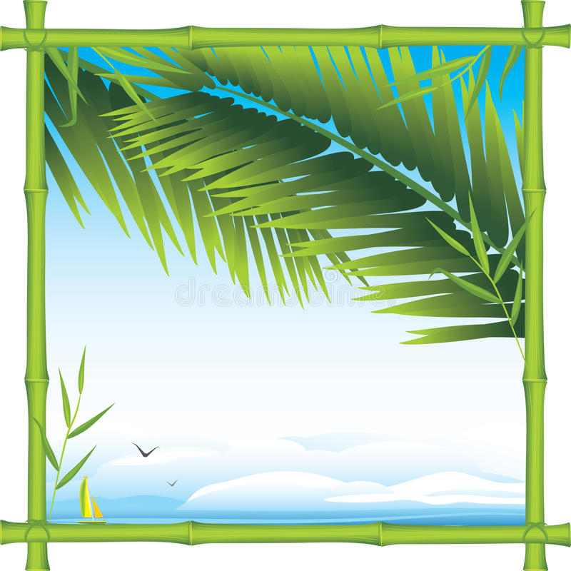 Download Bamboo Frame With Palm Branches And Landscape Stock Vector - Illustration of blue, green: 25406445