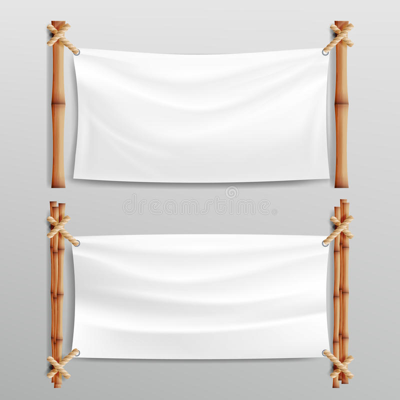 Bamboo Frame With Realistic Paper Background. For Your Message. Empty Canvas For Text. Realistic Illustration. royalty free illustration