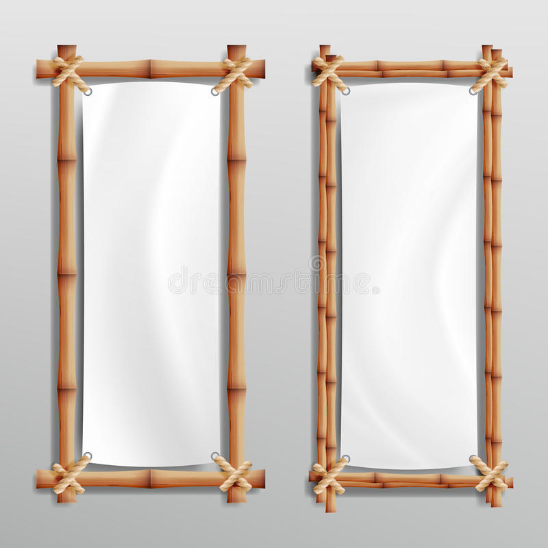 Bamboo Frame Realistic. Vector Bamboo Stems With Rope And Paper Or Silk Canvas. stock illustration