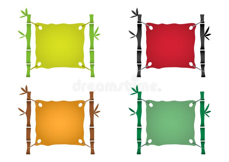 Bamboo frame template for tropical signboard, colorful set background . Vector vector illustration