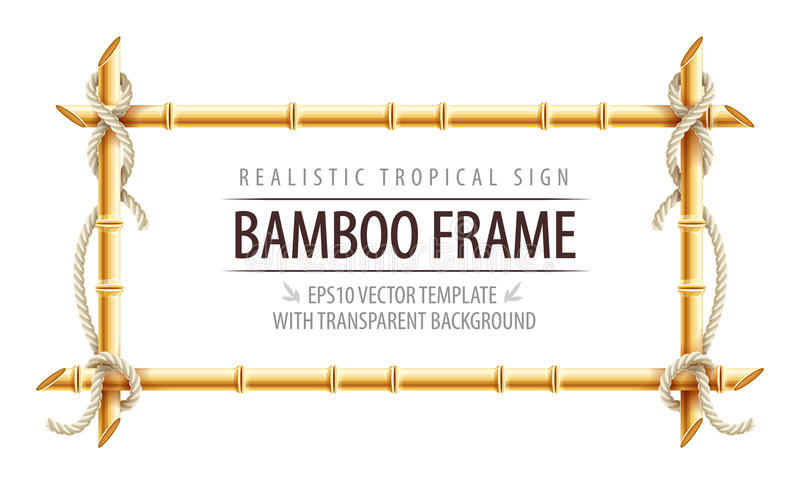 Bamboo frame template for tropical signboard royalty free illustration