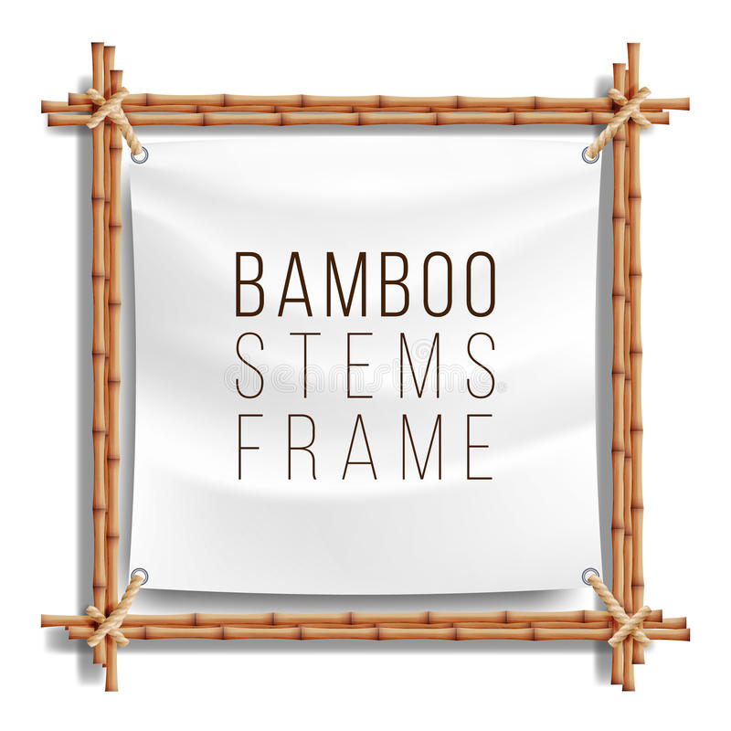 Bamboo Frame Template Vector. Good For Tropical Signboard. Empty Canvas For Text. Realistic Illustration. stock illustration