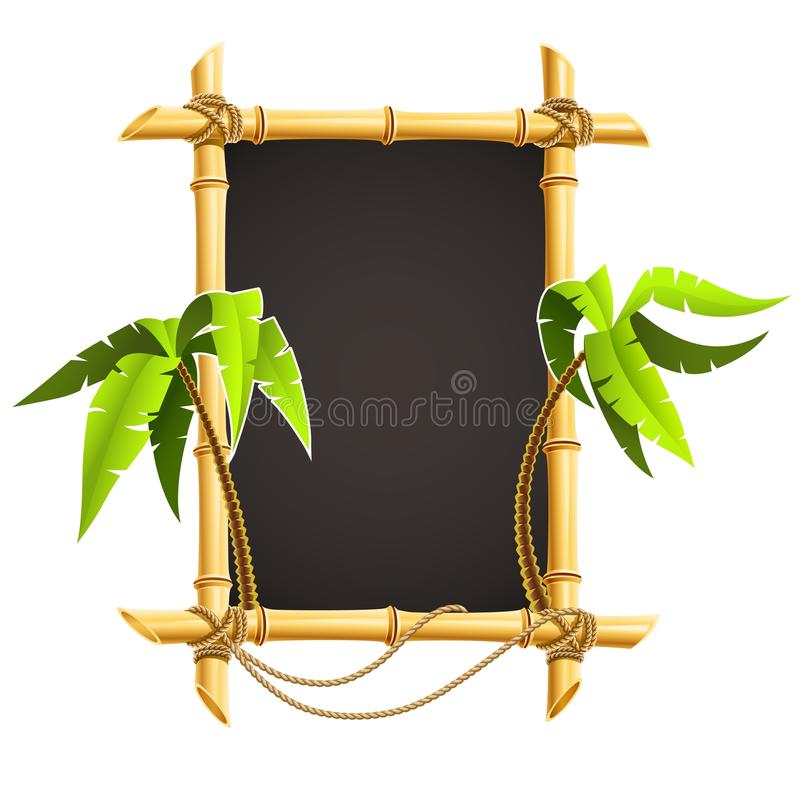 Bamboo frame with tropical palms royalty free illustration