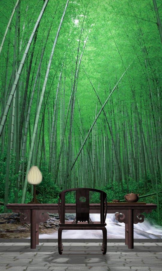 Bamboo garden. A design photo with bamboo garden stock images