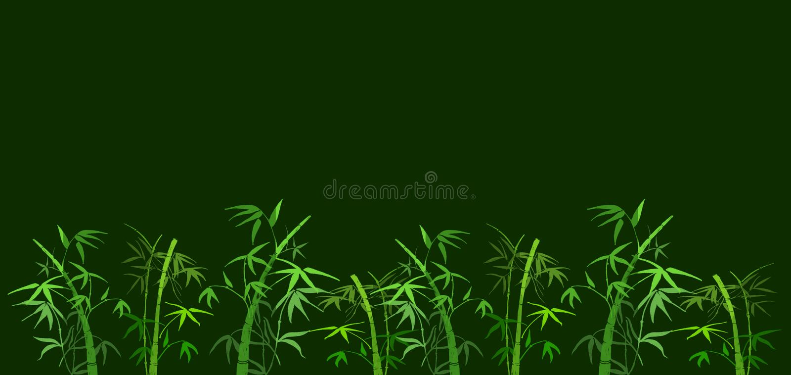 Bamboo. On green background the branches of bamboo stock illustration