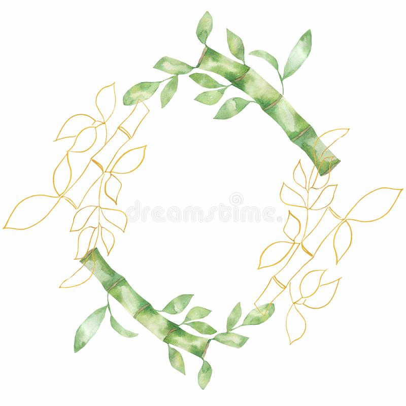 Bamboo green leaves and and golden leaf frames. Watercolor illustrations. Green natural wreath frame royalty free illustration