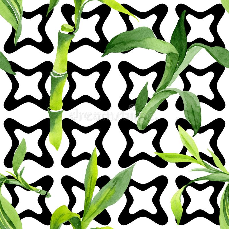 Bamboo green leaves. Watercolor background illustration set. Seamless background pattern. royalty free illustration